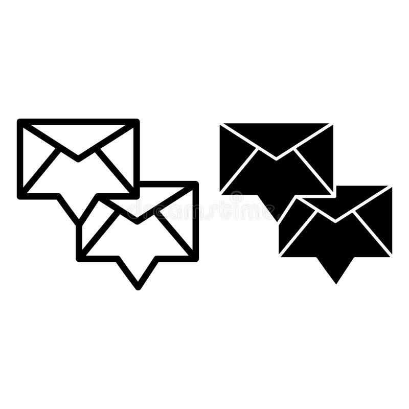 Envelop met binnenkomend berichtlijn en glyph pictogram Twee nieuwe berichten vectordieillustratie op wit wordt geïsoleerd E-mail stock illustratie