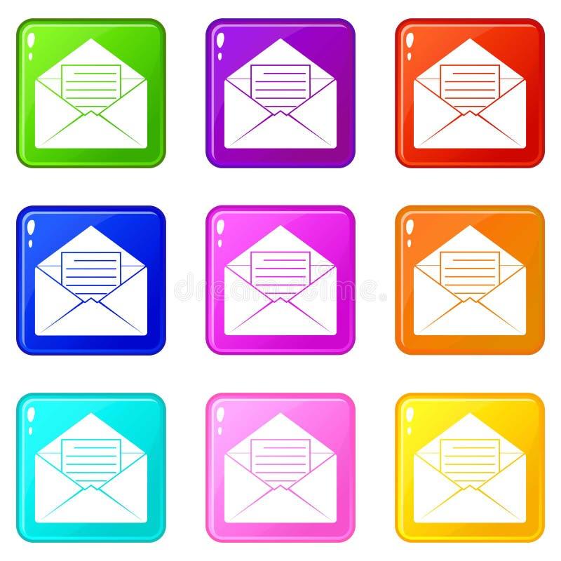 Envelop met blad van document reeks 9 vector illustratie