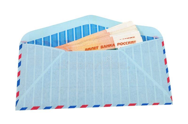 Envelop met contant geld in Russische roebels royalty-vrije stock foto