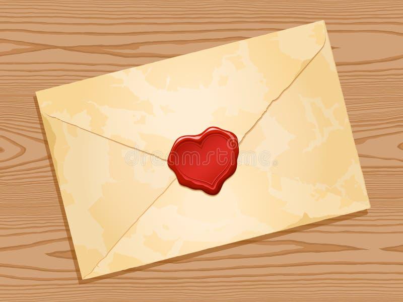 Envelop met de verbindings houten achtergrond van de hartwas royalty-vrije illustratie