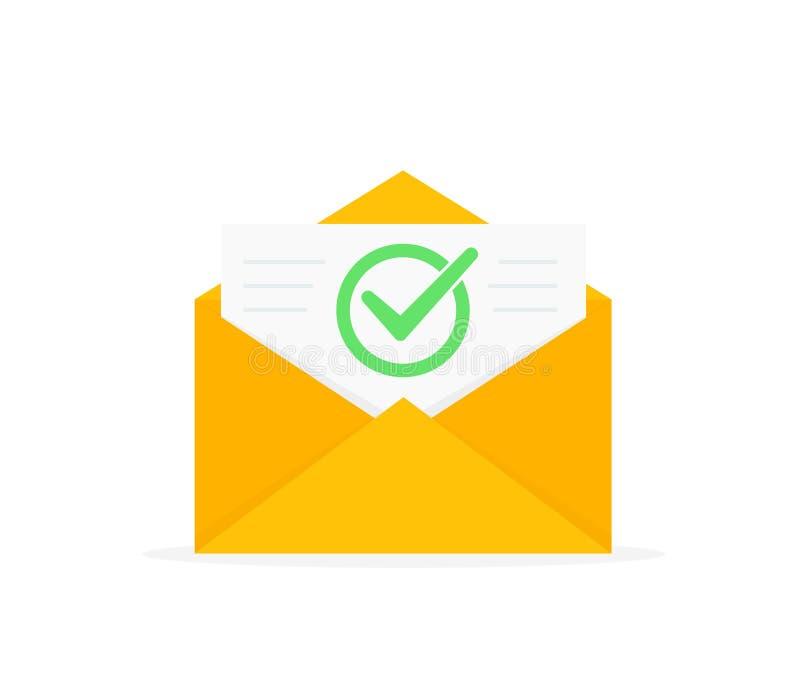 Envelop met goedgekeurd documentpictogram E-mailbevestiging Open envelop met een document Nieuwe brief Vlak Ontwerp stock illustratie