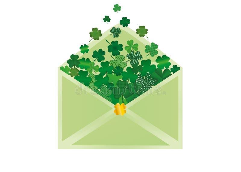 Envelop met groene binnen klaver StPatrick` s Dag Vector royalty-vrije illustratie