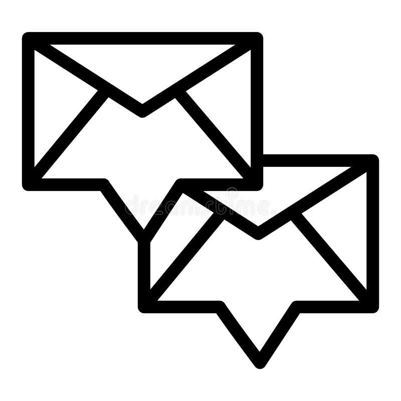 Envelop met het pictogram van de binnenkomend berichtlijn Twee nieuwe berichten vectordieillustratie op wit wordt geïsoleerd E-ma royalty-vrije illustratie