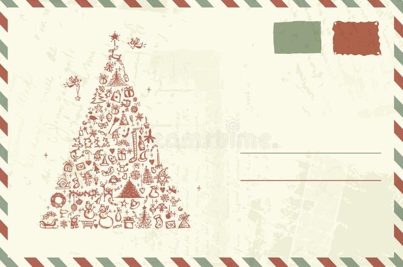 Envelop met Kerstmisschets stock illustratie