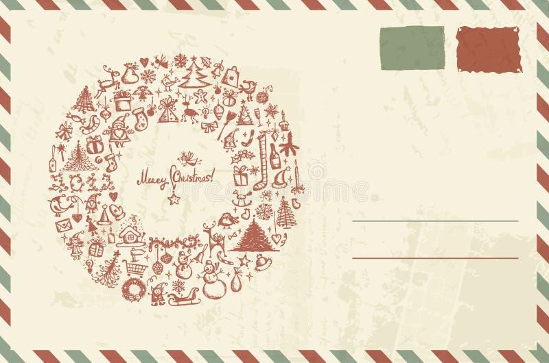 Envelop met Kerstmisschets en plaats voor uw royalty-vrije illustratie