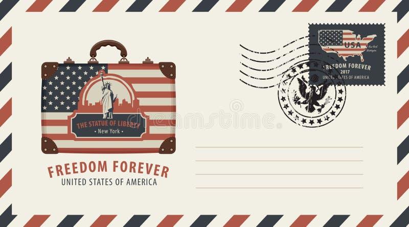 Envelop met koffer, Standbeeld van Vrijheid en vlag royalty-vrije illustratie