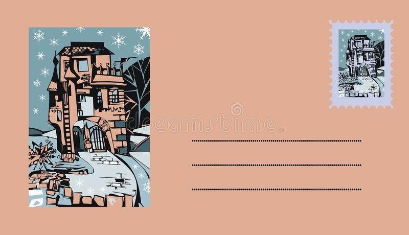 Envelop met mooie kasteel en postzegel royalty-vrije illustratie