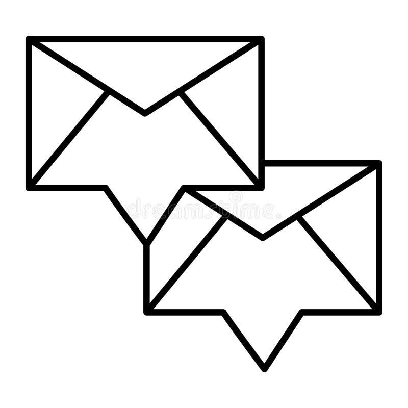 Envelop met pictogram van de binnenkomend bericht het dunne lijn Twee nieuwe berichten vectordieillustratie op wit wordt geïsolee vector illustratie