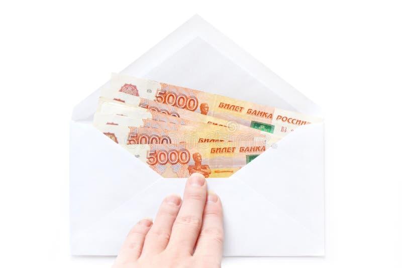 Envelop met Russisch Geld Omkoperij en corruptieconcepten royalty-vrije stock foto
