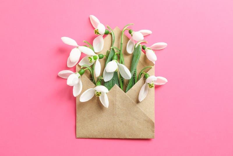 Envelop met sneeuwklokjebloemen op kleurenachtergrond stock afbeelding