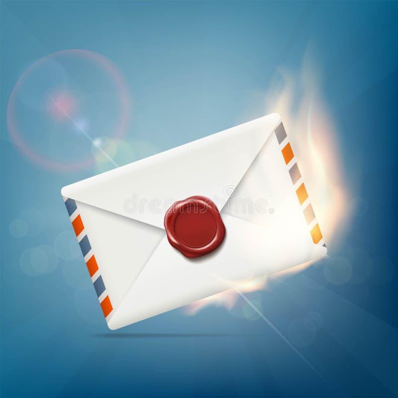 Envelop met wasverbinding op brand royalty-vrije illustratie