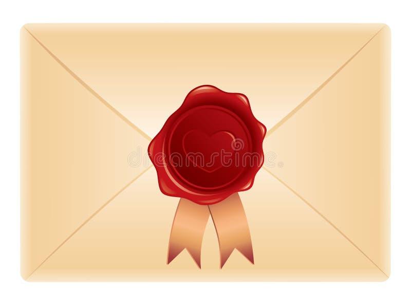 Envelop met zegel stock illustratie