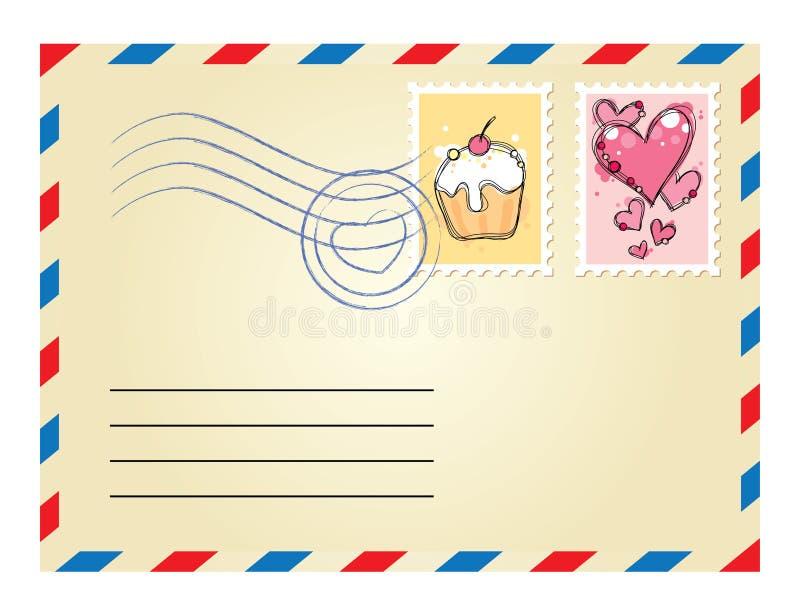 Envelop met zegels stock illustratie