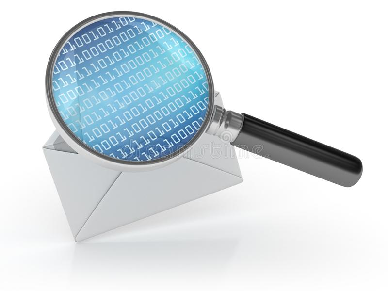 Envelopbrief met Binaire Code en Vergrootglas stock illustratie