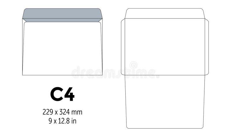 Envelopc4 malplaatje voor a4, a5-document besnoeiingslijnen royalty-vrije illustratie
