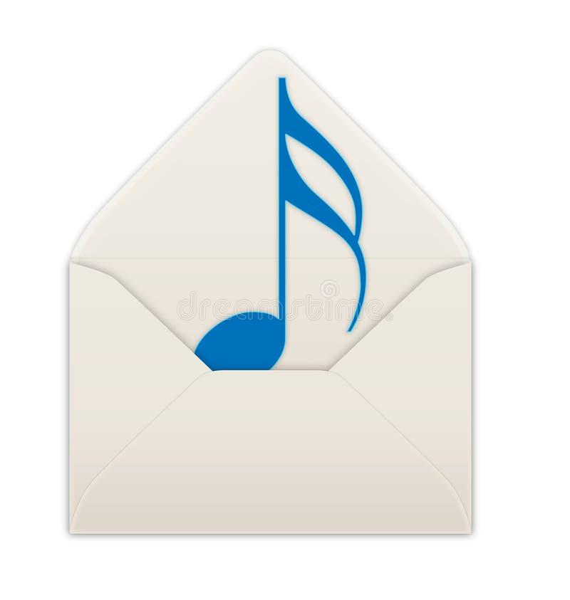 Envelope. Blue musical note in an envelope royalty free illustration