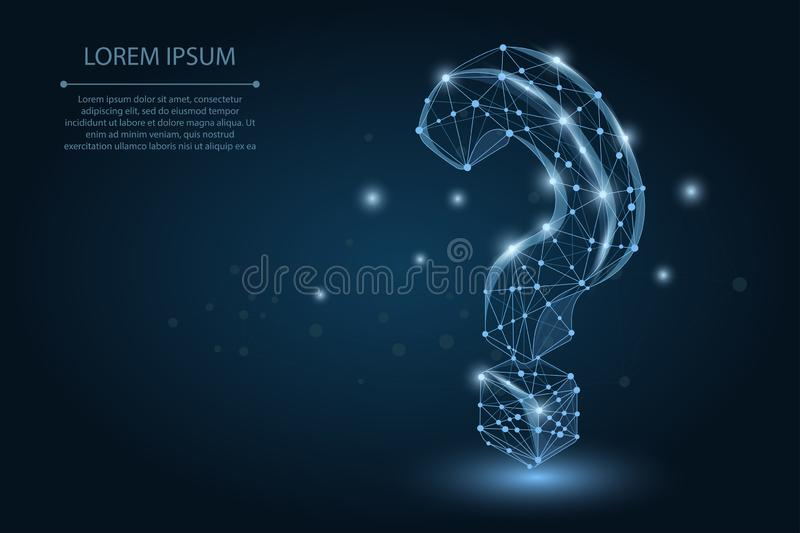 Abstract mash line and point Question mark. Vector business illustration. stock illustration