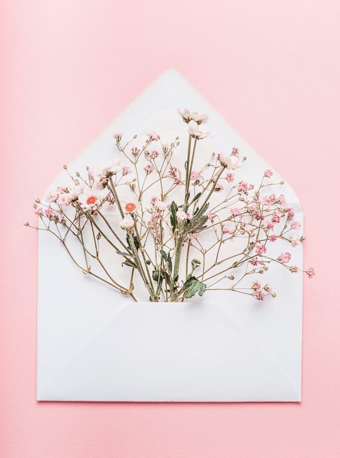 Envelope aberto com arranjos de flores no fundo cor-de-rosa, vista superior Cumprimento festivo fotos de stock royalty free