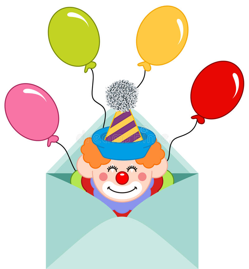 Envelope aberto com palhaço e balões ilustração do vetor