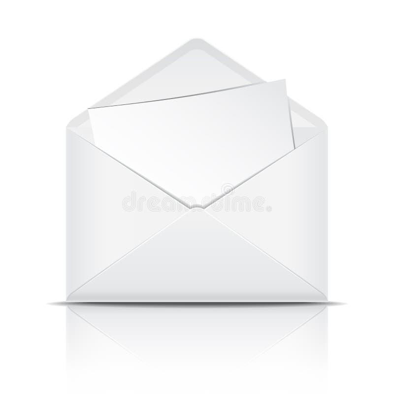 Envelope aberto do branco com papel ilustração do vetor