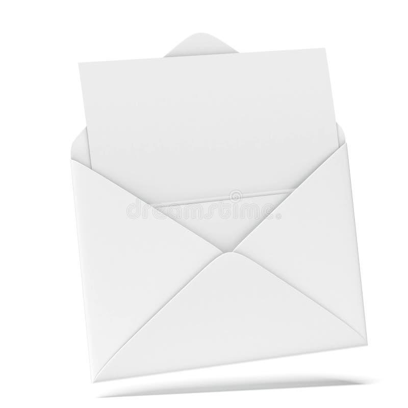 Envelope aberto do branco com papel ilustração royalty free