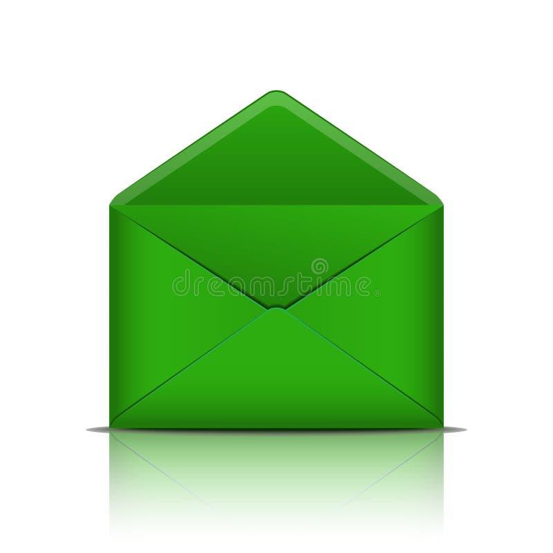 Envelope aberto do verde isolado no fundo branco ilustração royalty free