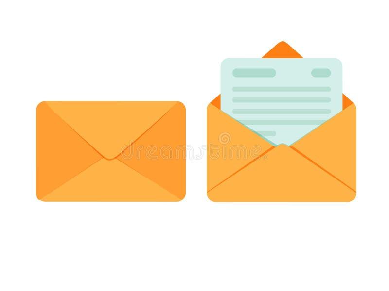 Envelope aberto e fechado com o cartão de papel de nota Ícone do correio Ilustração do vetor ilustração stock