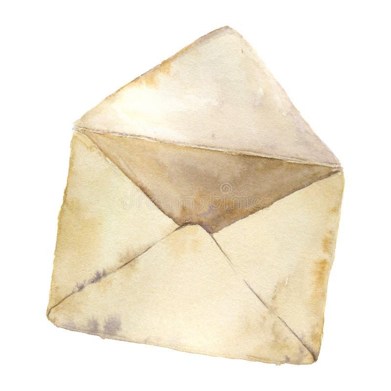 Envelope aberto retro da aquarela Ícone do correio do vintage no fundo branco Elemento pintado à mão do projeto ilustração royalty free