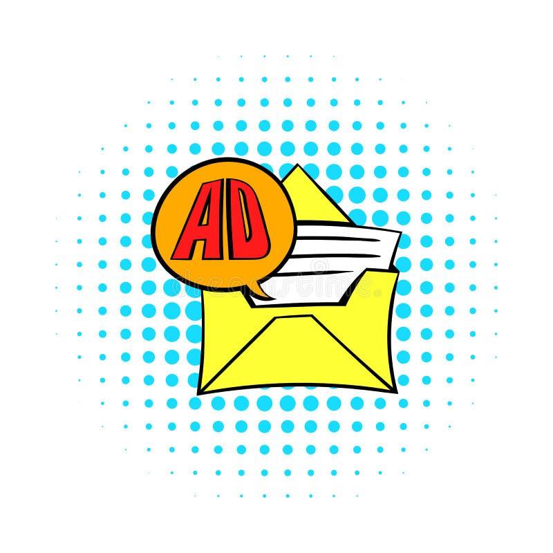 Envelope amarelo com o cartão para anunciar o ícone ilustração do vetor