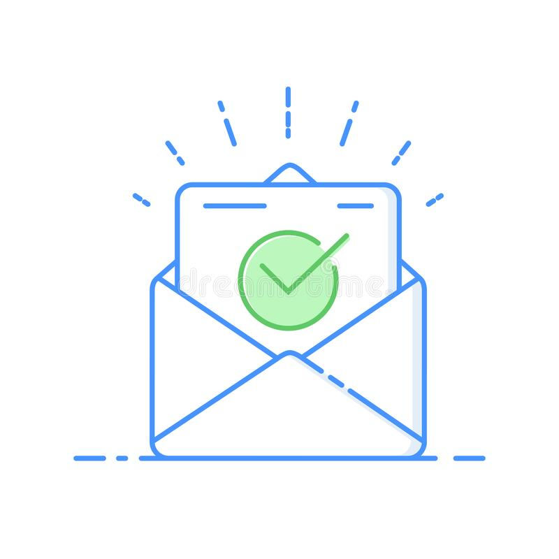 Envelope with approved document thin line icon. Vector illustration of e-mail confirmation. royalty free illustration
