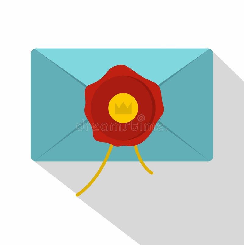 Envelope azul com ícone vermelho do selo da cera, estilo liso ilustração do vetor