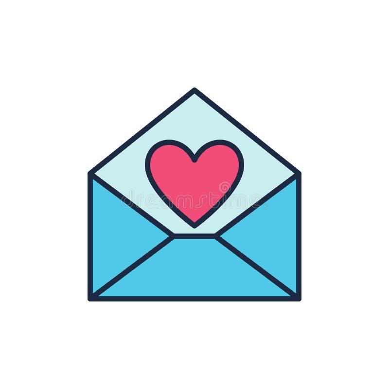 Envelope azul com ícone vermelho do vetor do coração Símbolo de carta de amor ilustração do vetor