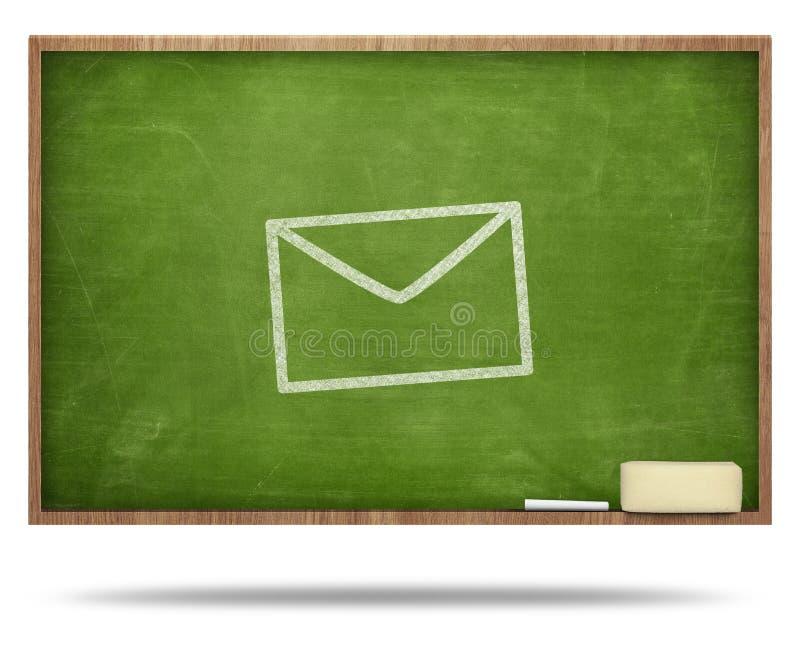 Envelope on blackboard stock images