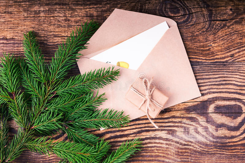 Envelope and blank card, craft handmade gift box decorations royalty free stock images