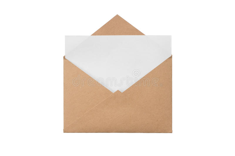Envelope with with a blank sheet. A craft envelope with with a blank sheet, isolated white at the studio royalty free stock photos