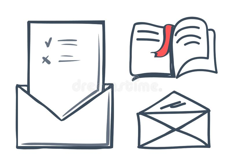 Envelope and Book with Bookmark Icons Set Vector. Envelope and book with bookmark isolated icons set vector. Publication and info on papers, correspondence and stock illustration