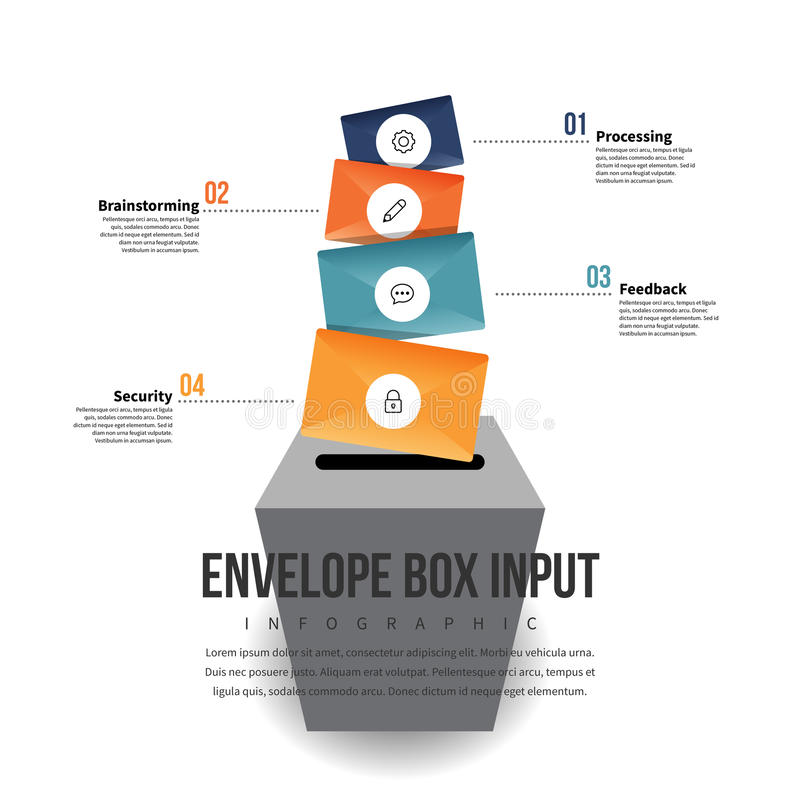 Envelope Box Input Infographic. Vector illustration of envelope box input infographic design element stock illustration