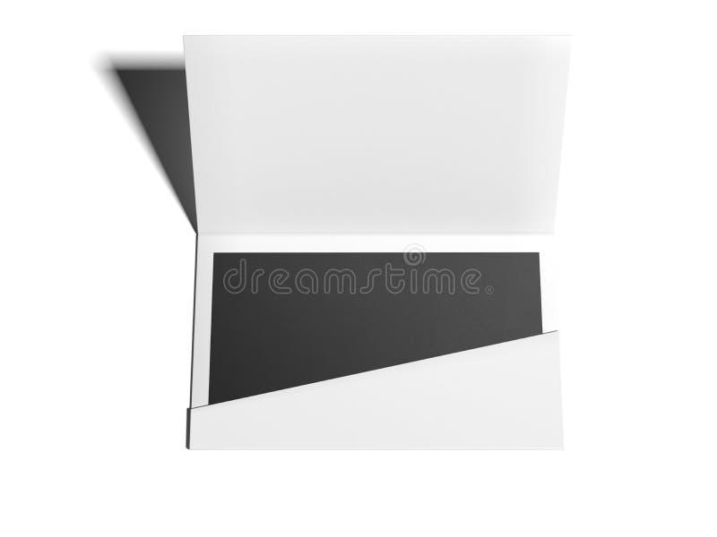 Envelope branco com a folha vazia no assoalho brilhante rendição 3d ilustração do vetor