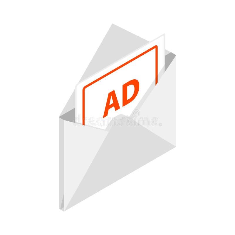 Envelope branco com o cartão para anunciar o ícone ilustração stock