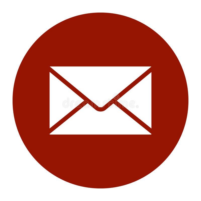 Envelope branco do ?cone liso do correio vermelho para tr ilustração stock