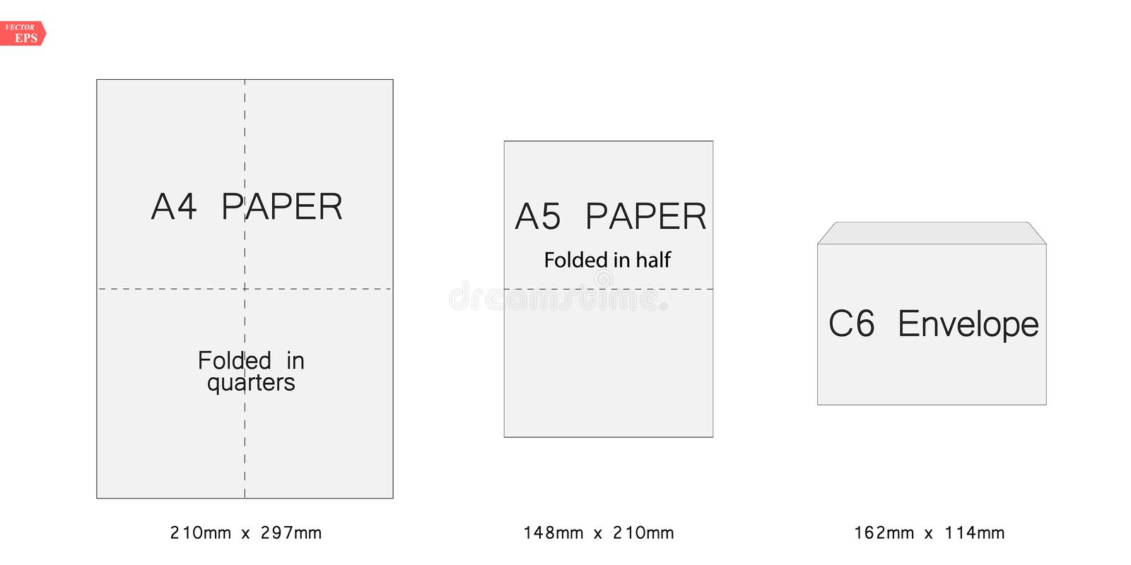 Envelope c6 template for a4, a5 paper. Vector illustration stock illustration