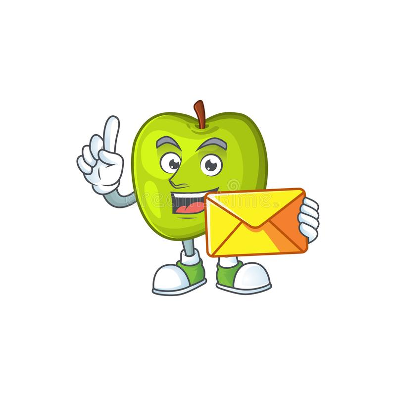 With envelope character granny smith green apple with mascot stock illustration