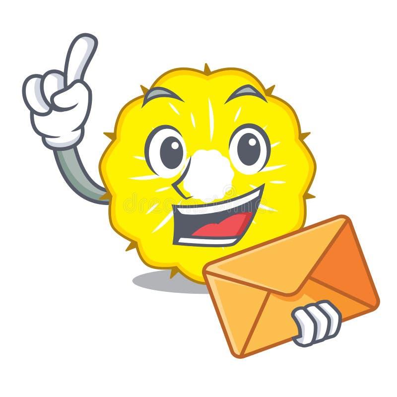 With envelope character pineapple slice fresh stock illustration