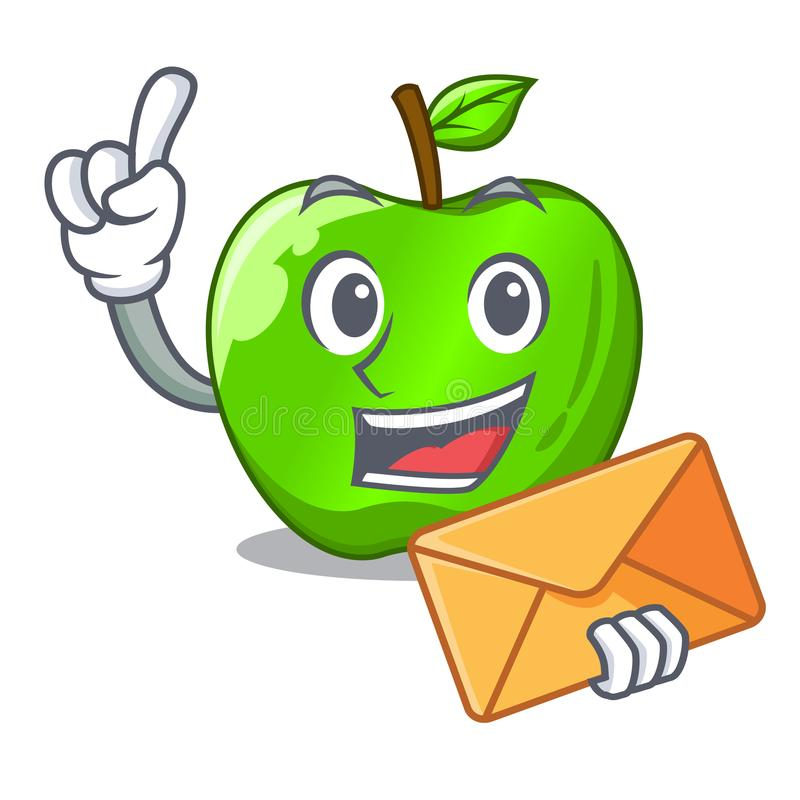 With envelope character ripe green apple with leaf stock illustration