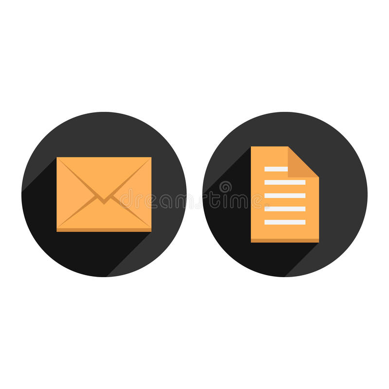 Envelope and check list in circles with long stock illustration