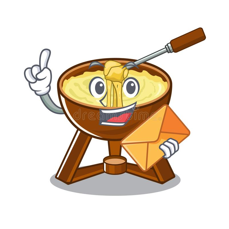 With envelope cheese fondue with in mascot shape. Vector illustration stock illustration
