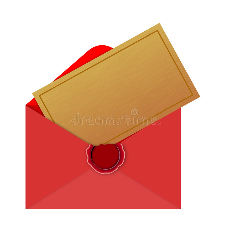 Envelope with Christmas card. Vector art of an Envelope with Christmas card royalty free illustration