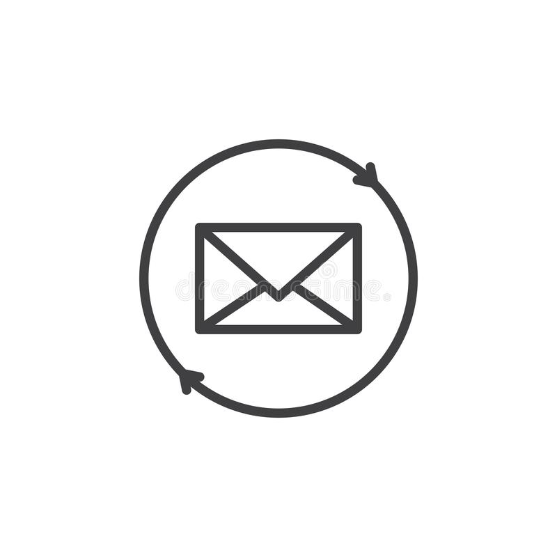 Envelope with circular arrows outline icon. Linear style sign for mobile concept and web design. Mailing simple line vector icon. Symbol, logo illustration vector illustration