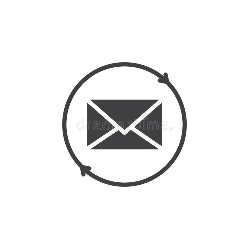 Envelope with circular arrows vector icon. Filled flat sign for mobile concept and web design. Mailing simple solid icon. Symbol, logo illustration. Pixel stock illustration