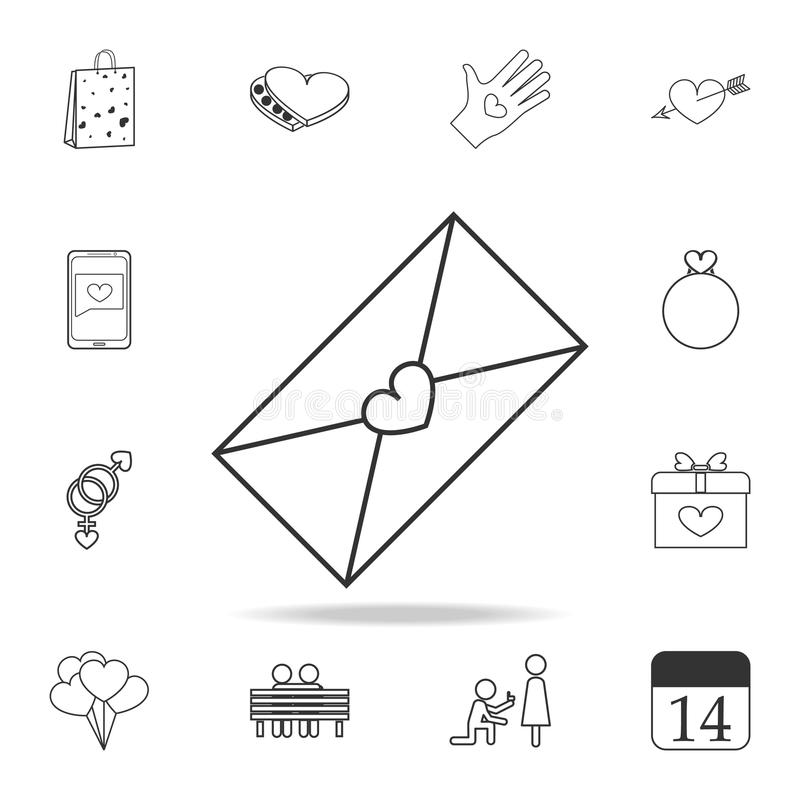envelope com ícone da carta de amor Grupo de ícones do elemento do amor Projeto gráfico da qualidade superior Sinais, ícone da co ilustração do vetor